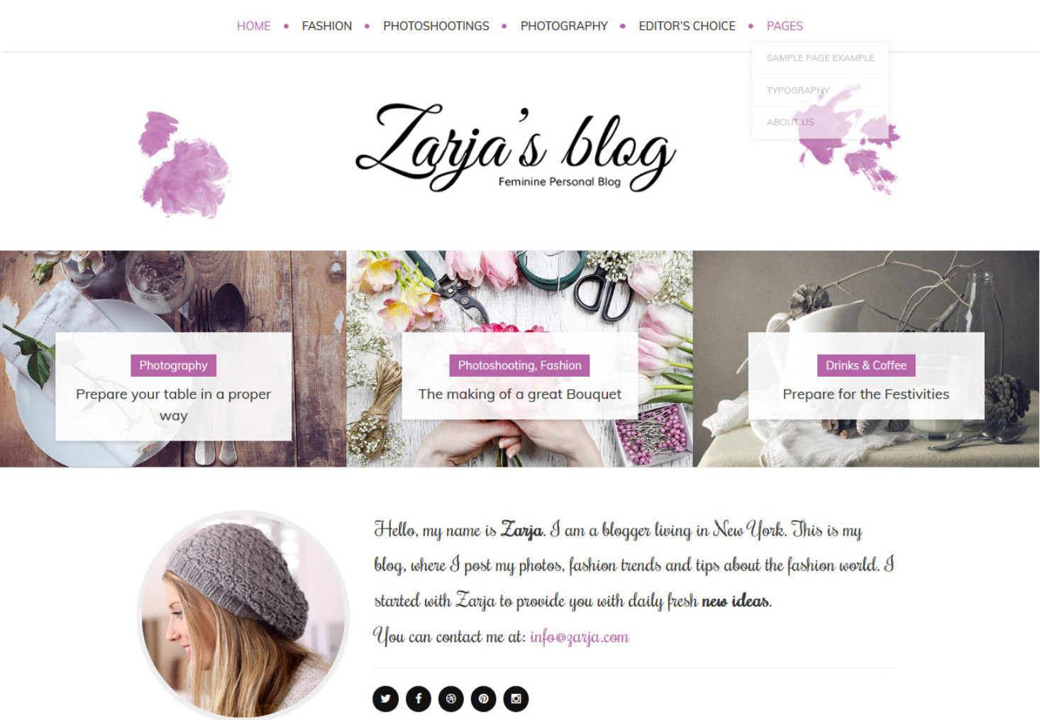 Zarja Modern Feminine and Fresh WordPress Theme