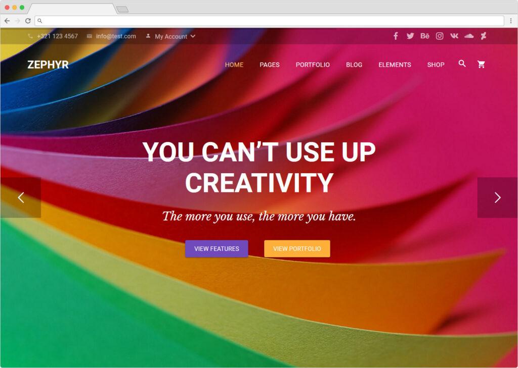 Zephyr Material Design Style Theme WordPress Minimal
