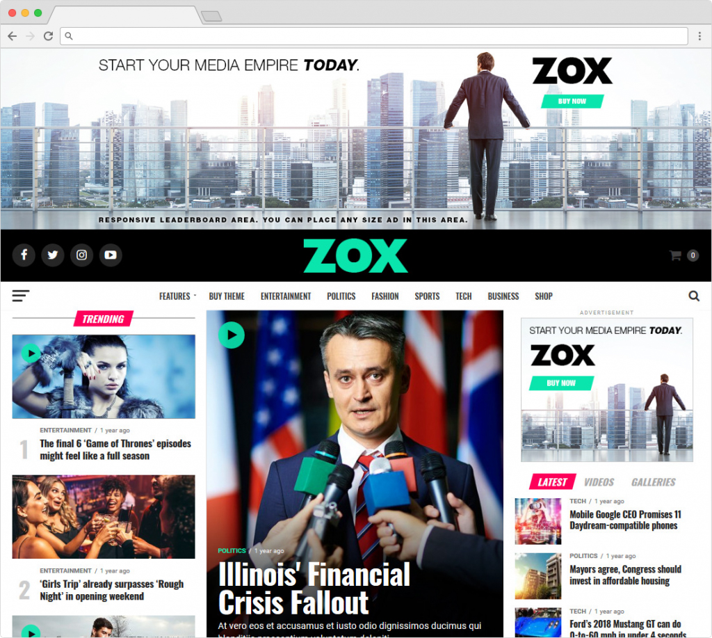 Zox News Home Page Style Responsive Premium