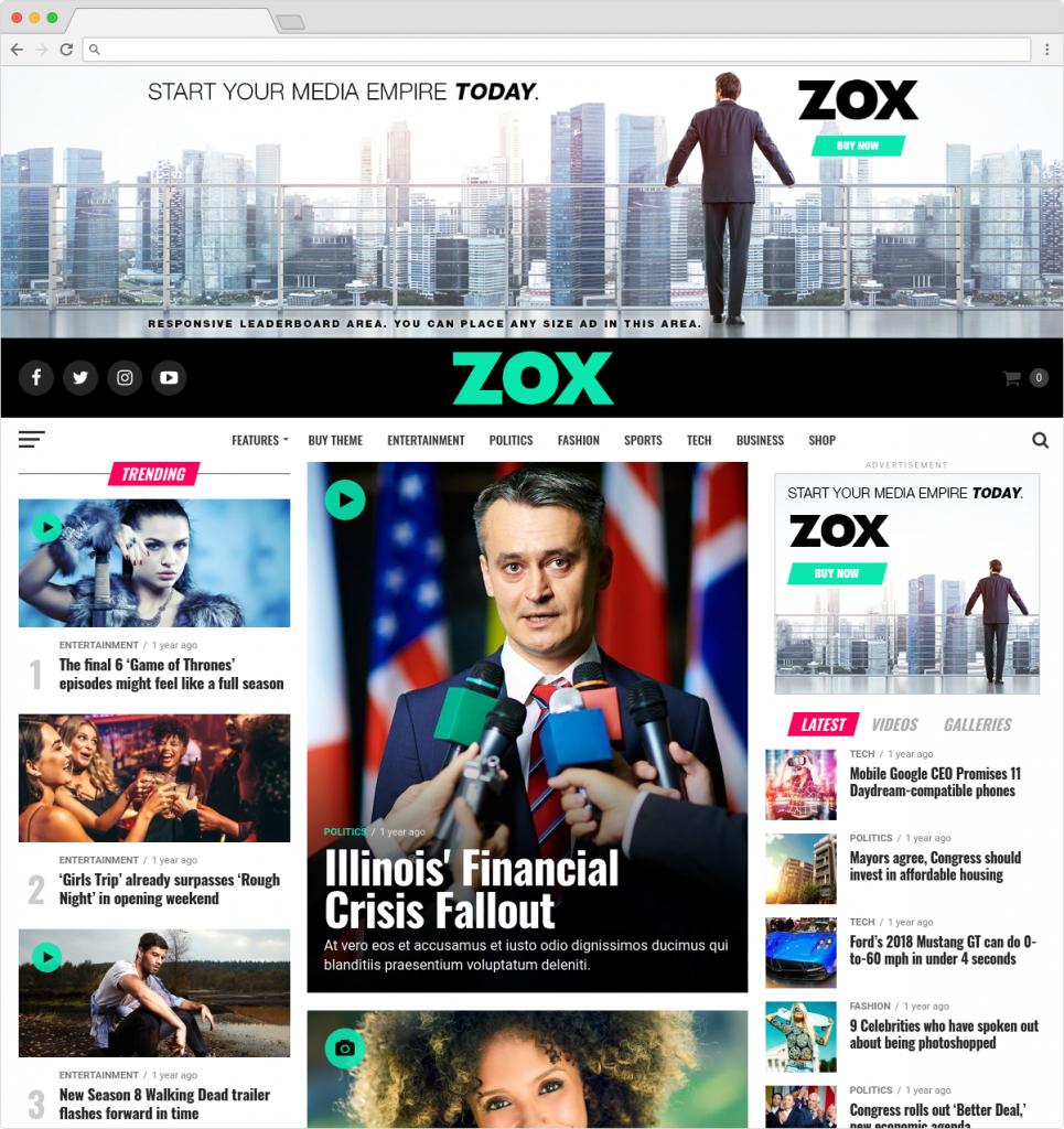Zox News Magazine Theme For WordPress