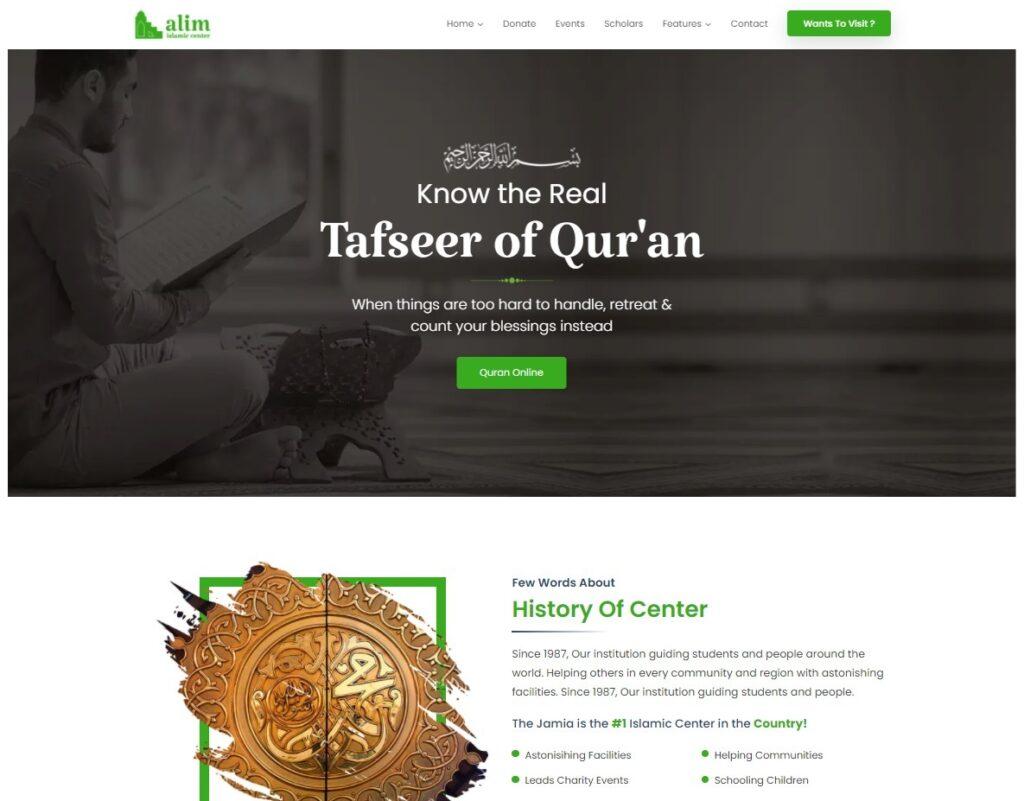 Alim Islamic Center WordPress Theme for House of Worship