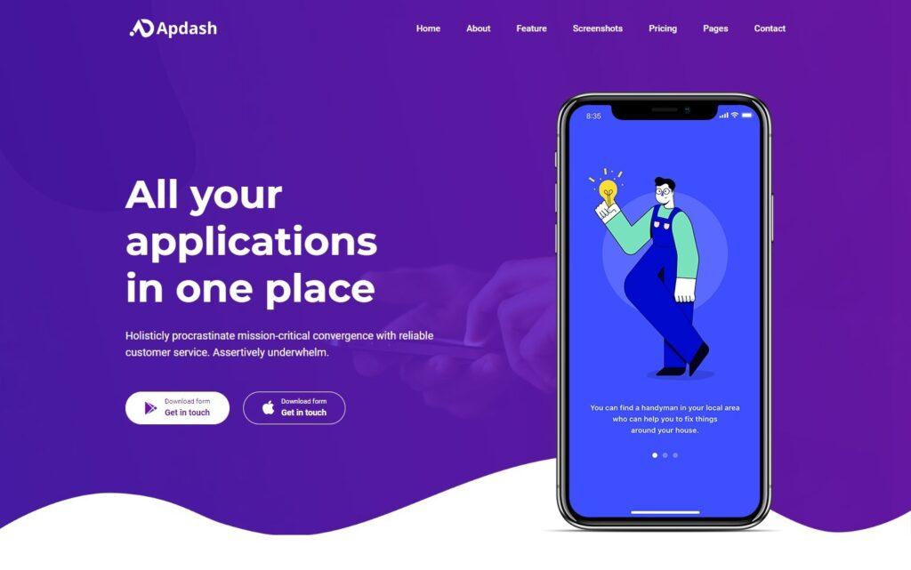 Apdash – App Landing Page Template