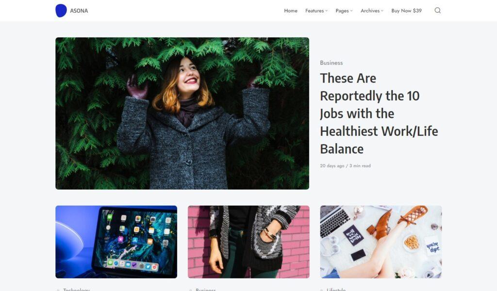 Asona – Creative Minimal Blog and Magazine WordPress Theme