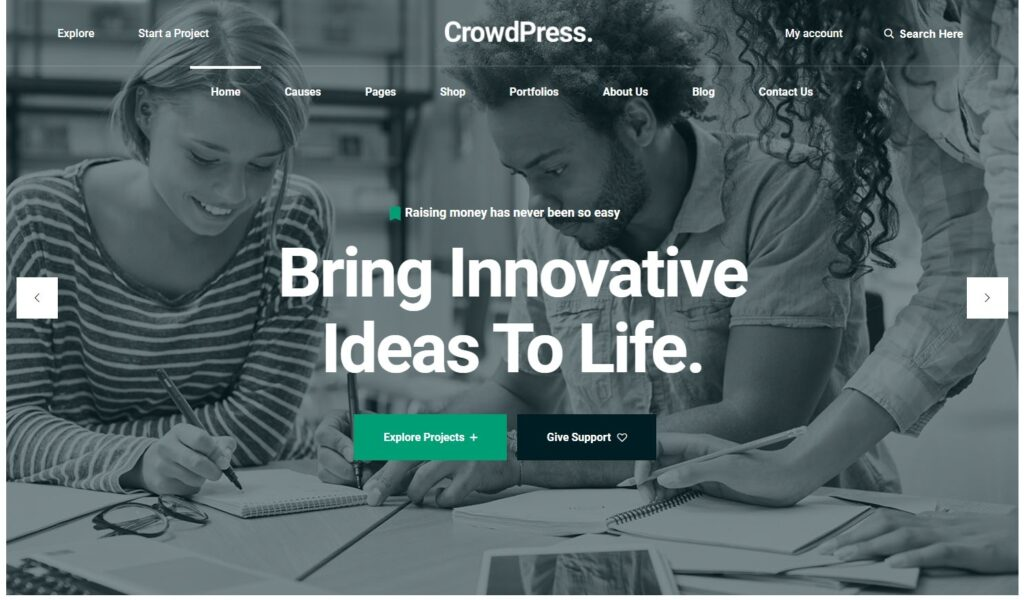 CrowdPress Crowdfunding Responsive WordPress Theme