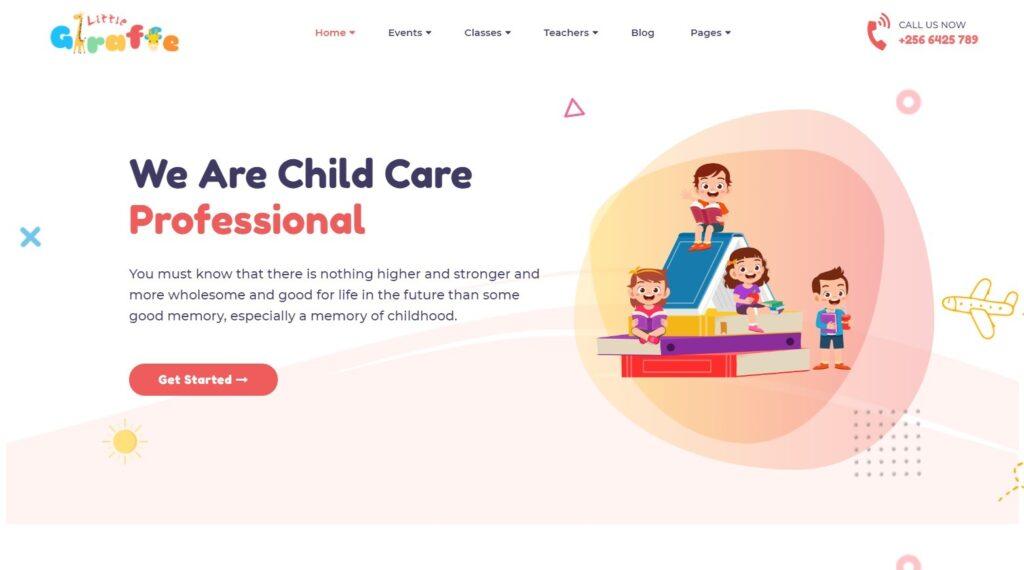 Giraffe WordPress Theme for Kids Education Website