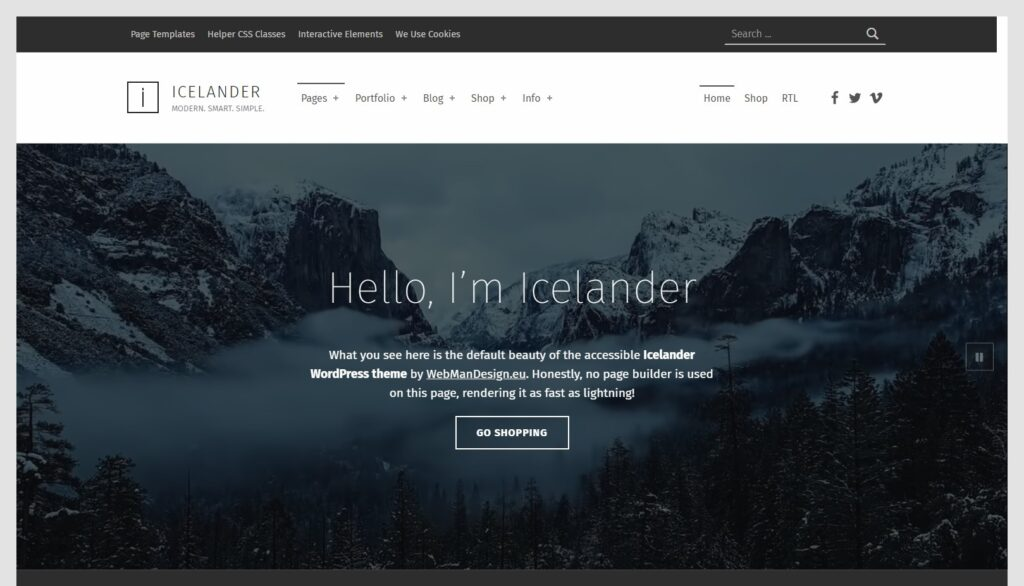 Icelander – Modern. Smart. Simple. GPL Licensed.