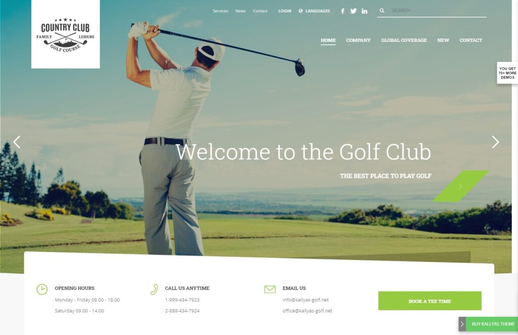 Kallyas WordPress Multipurpose Theme with Golf Layout