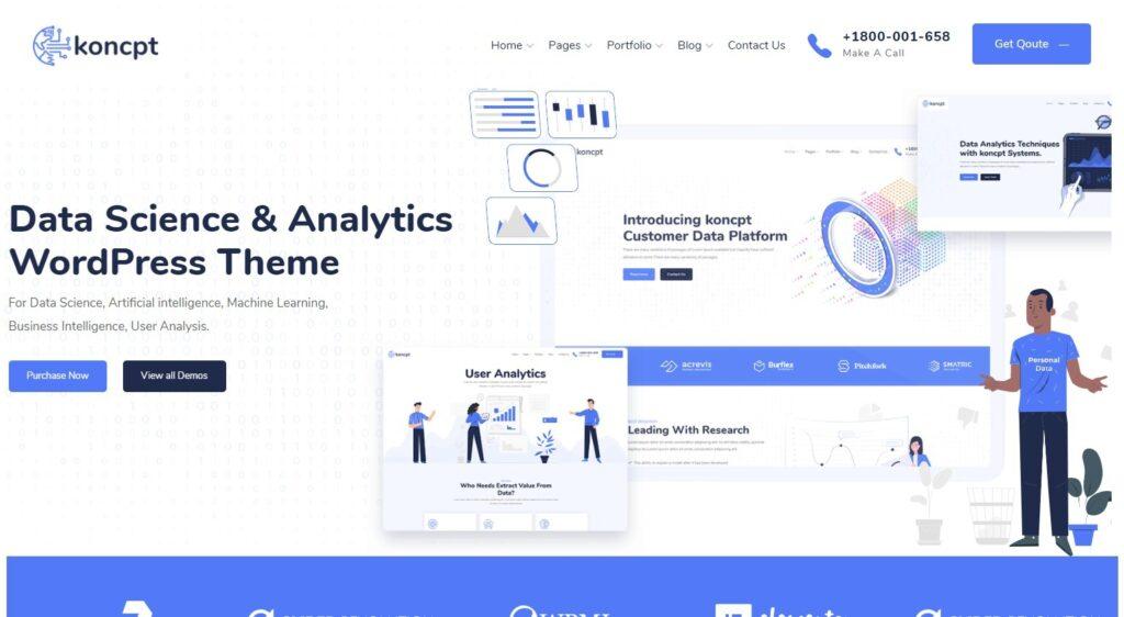 Koncpt Clean Well Organized Data Analytics WordPress Theme