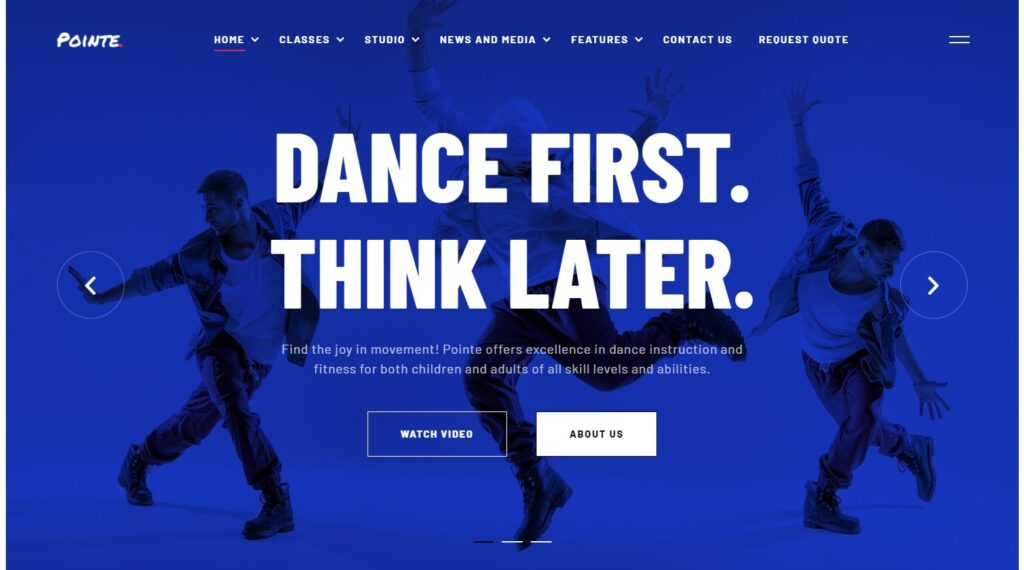 Pointe WordPress Dance Studio Theme