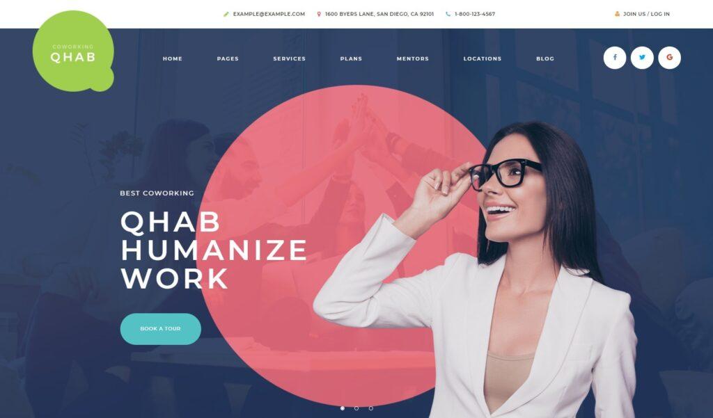 Qhab Coworking Space WordPress Theme
