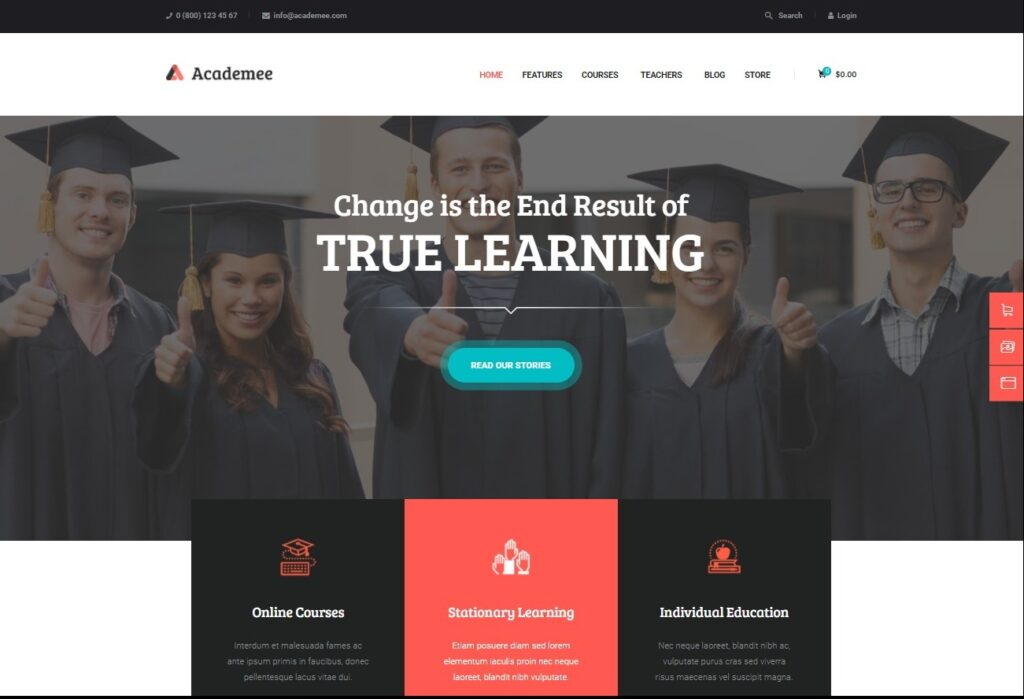Academee Education Center Training Courses WordPress Theme Preview ThemeForest