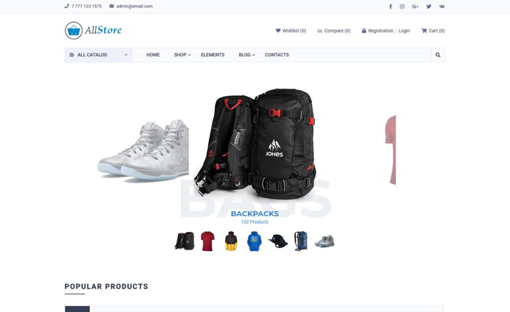AllStore Premium WordPress Theme for Sporting Goods