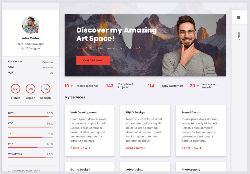 Arter CV Resume WordPress Theme