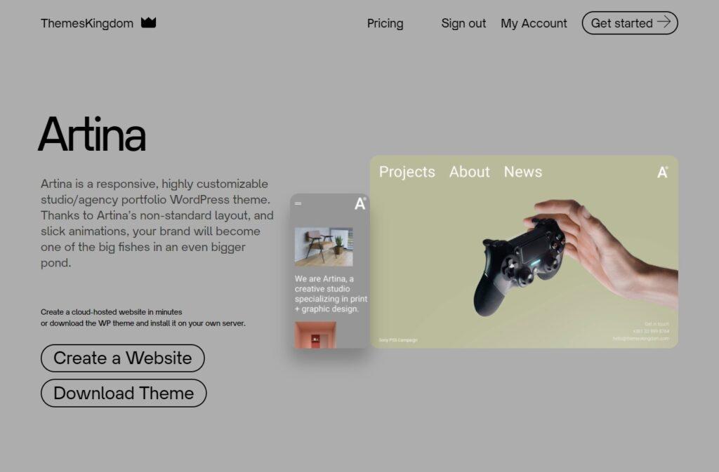 Artina Studio agency portfolio WordPress theme ThemesKingdom 1