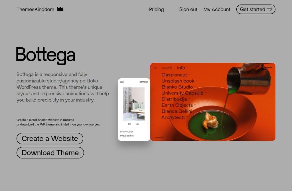 Bottega Agency portfolio WordPress theme ThemesKingdom