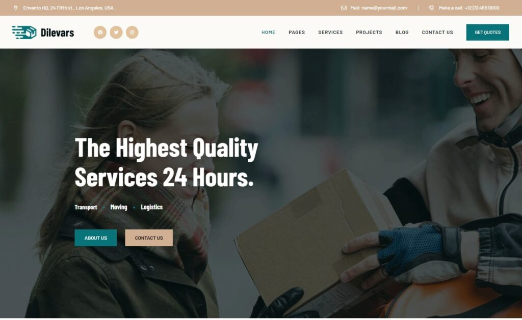 Dilevars Courier and Delivery Services WordPress Theme Preview ThemeForest