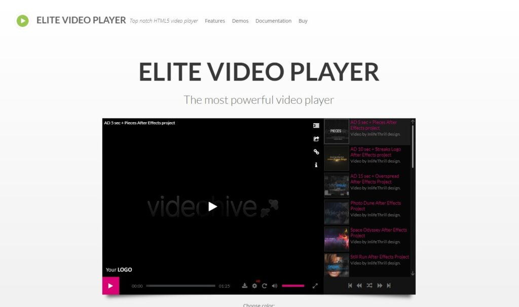 Elite Video Player Preview CodeCanyon