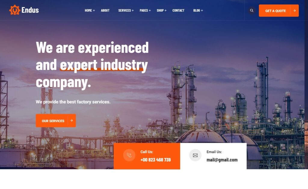 Endus Manufacturing and Industrial WordPress Theme
