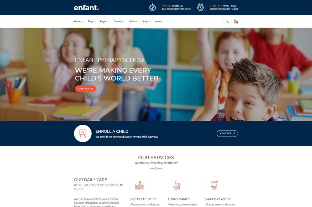 Enfant School and Kindergarten WordPress Theme Preview ThemeForest