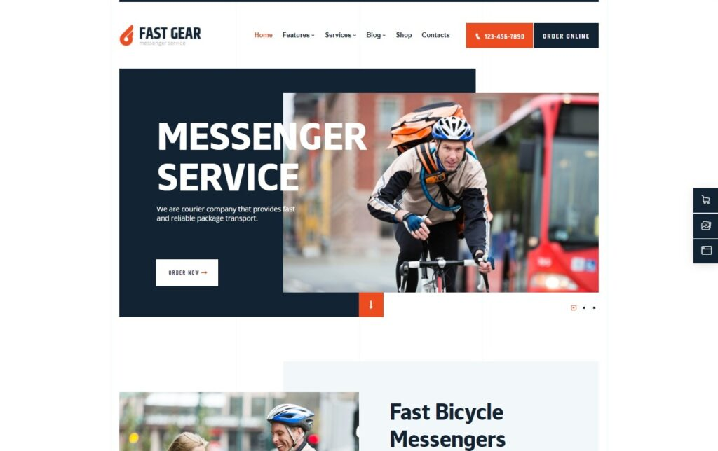Fast Gear Courier and Delivery Services Transportation WordPress Theme Preview ThemeForest