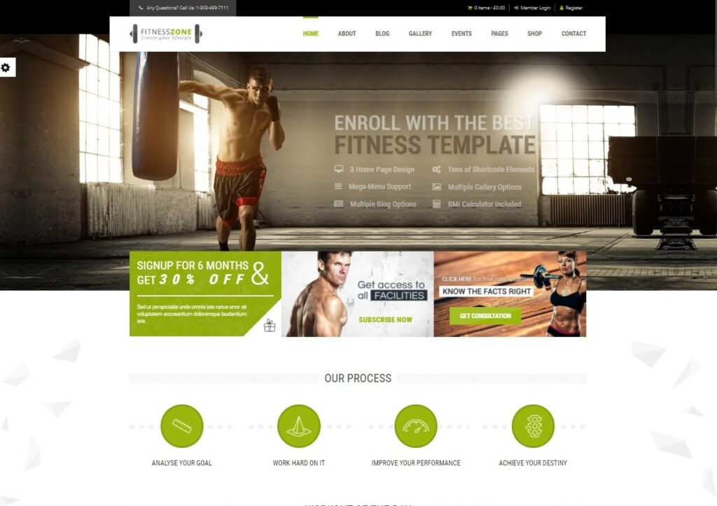 Fitness Zone Preview ThemeForest