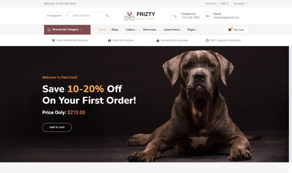 Fritzy Pet Shop WordPress Theme