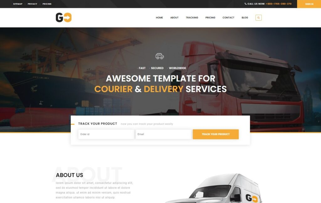 GO Courier– Delivery Transport WordPress Theme Preview ThemeForest