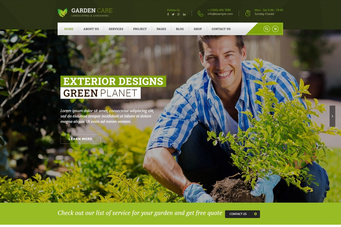 Garden Care Gardening and Landscaping WordPress Theme Preview ThemeForest