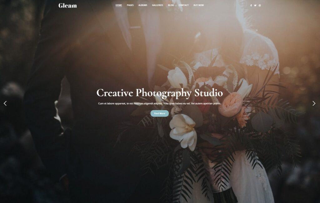 Gleam Portfolio Photography WordPress Theme Preview ThemeForest