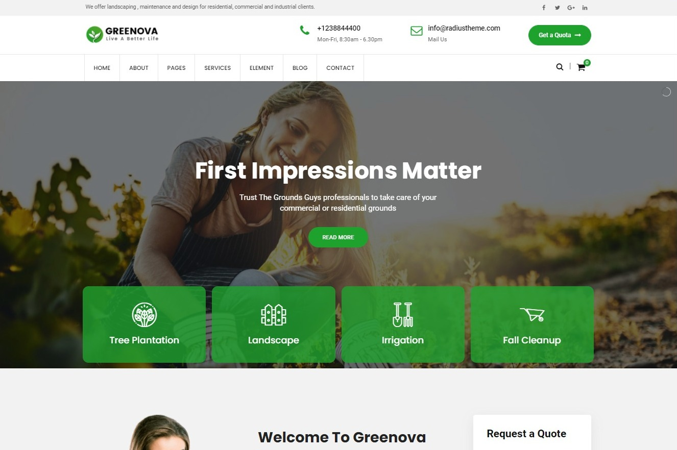 Greenova Gardening Landscaping WordPress Theme Preview ThemeForest