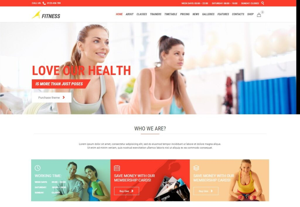Home Light Version FITNESS Great Sports and Personal Training Theme