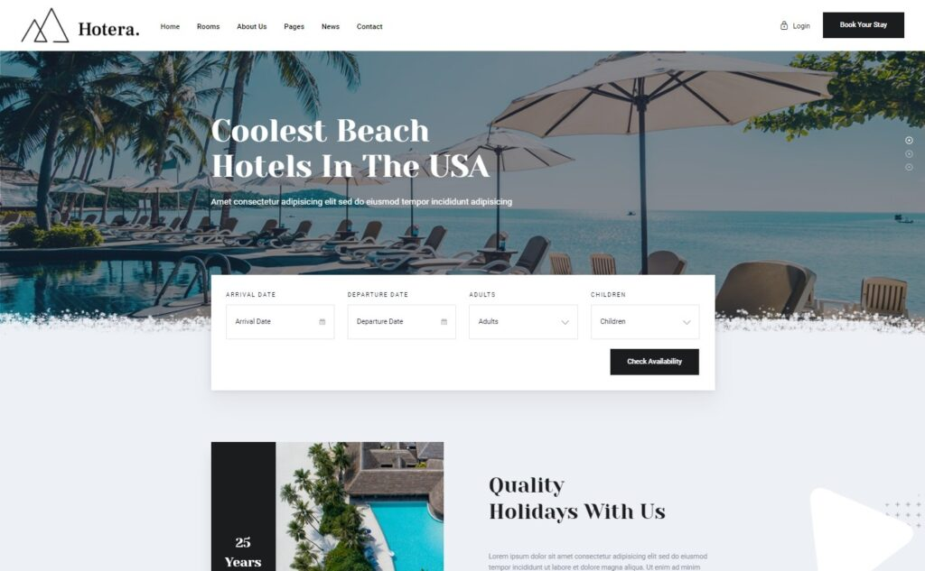 Hotera Resort and Hotel WordPress Theme Preview ThemeForest