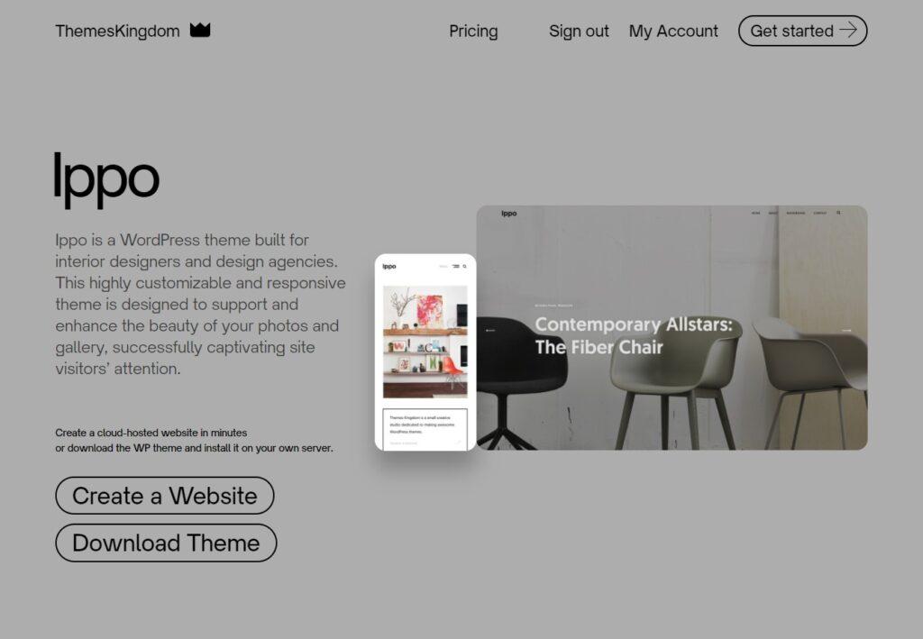 Ippo WordPress theme for interior designers ThemesKingdom