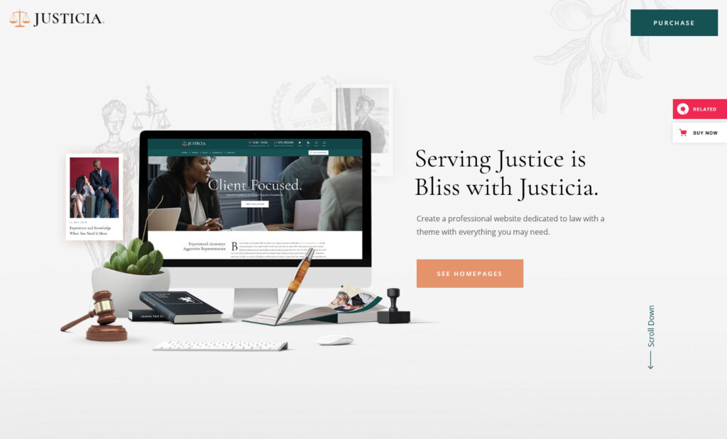 Justicia Lawyer and Law Firm WordPress Theme