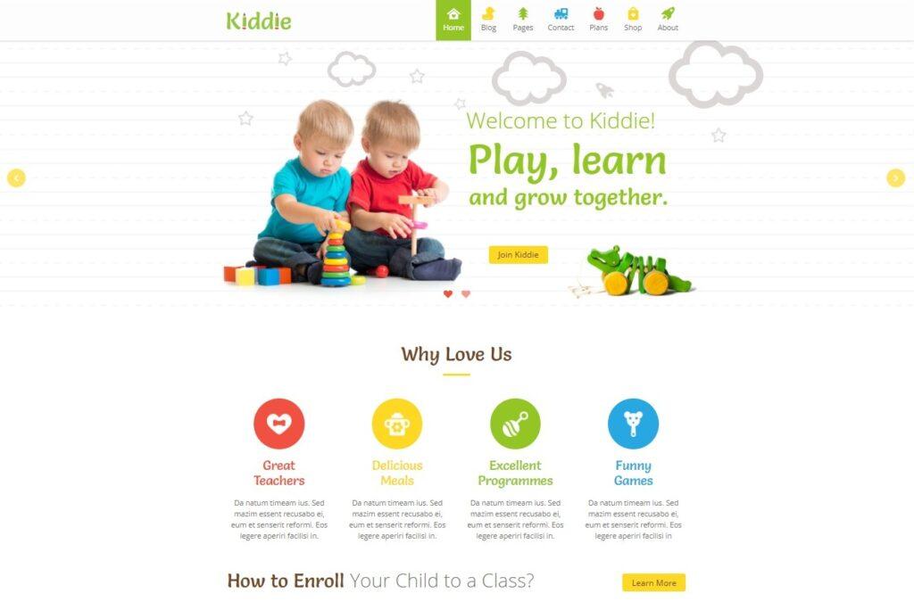 Kiddie Kindergarten WordPress Theme Preview ThemeForest