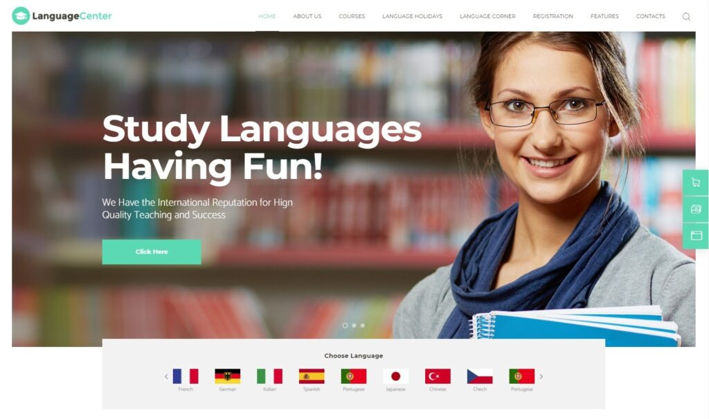 Language Center Online School Education WordPress Theme Preview ThemeForest