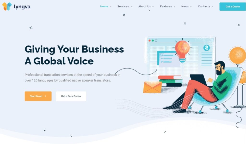 Lyngva Translation Agency WordPress Preview ThemeForest
