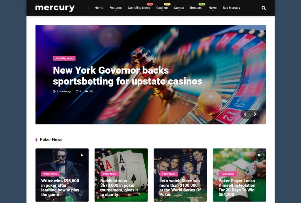 Mercury Gambling News Casino Affiliate WordPress Theme