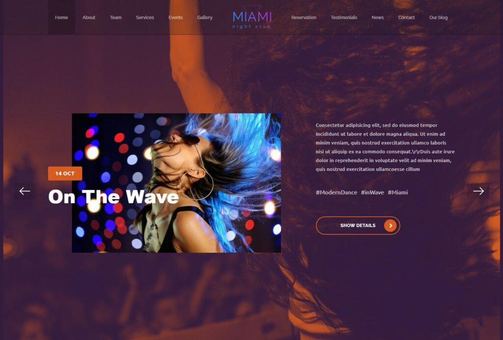Miami High Class Night Club WordPress Theme
