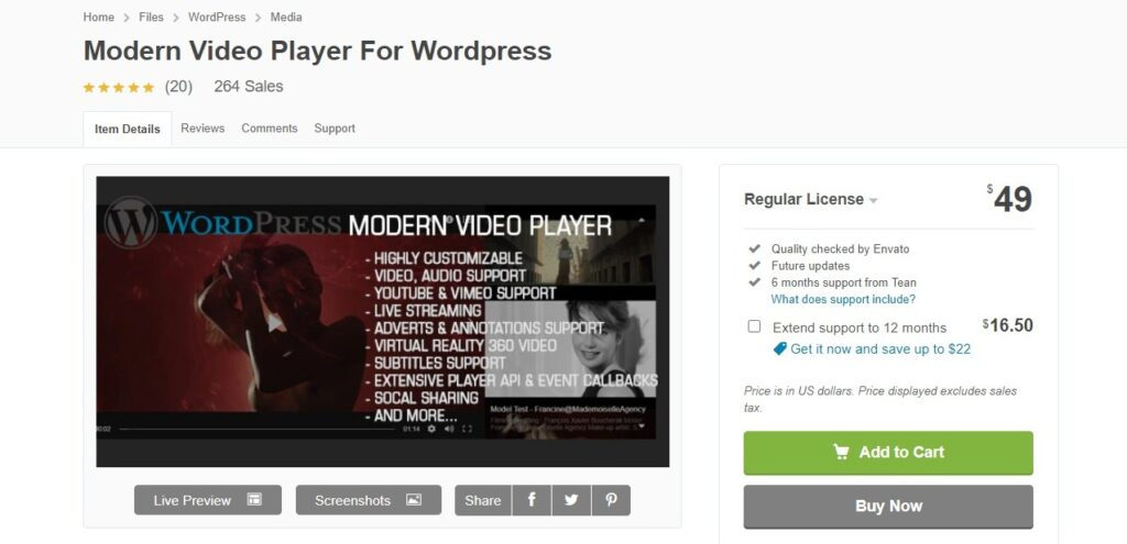 Modern Video Player For WordPress by Tean CodeCanyon