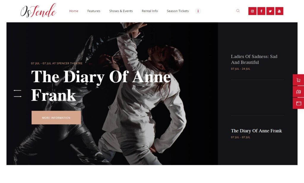 OsTende School of Arts Theater WordPress Theme
