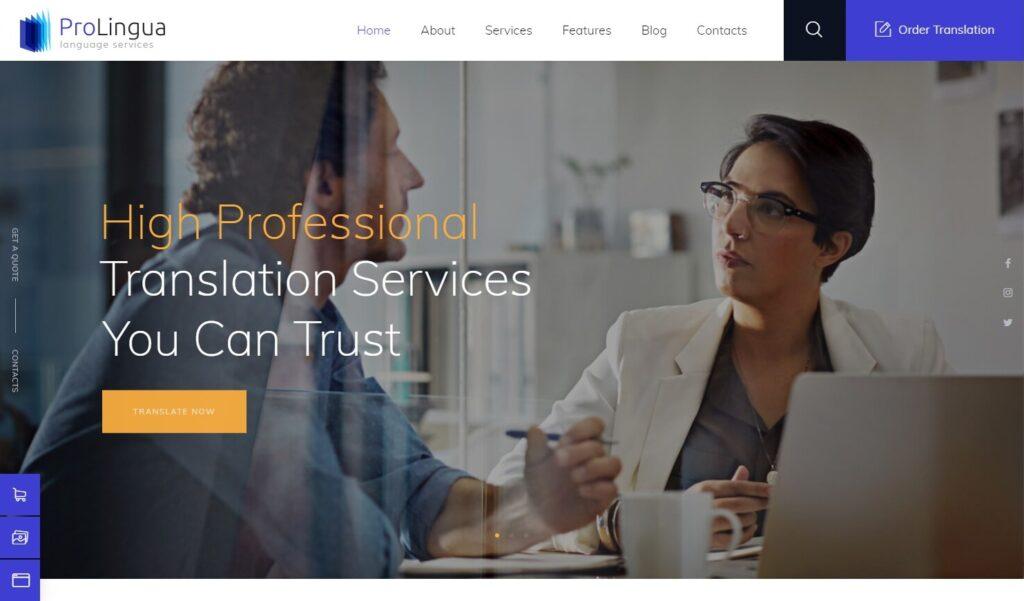 ProLingua Translation Bureau Interpreting Services WordPress Theme Preview ThemeForest