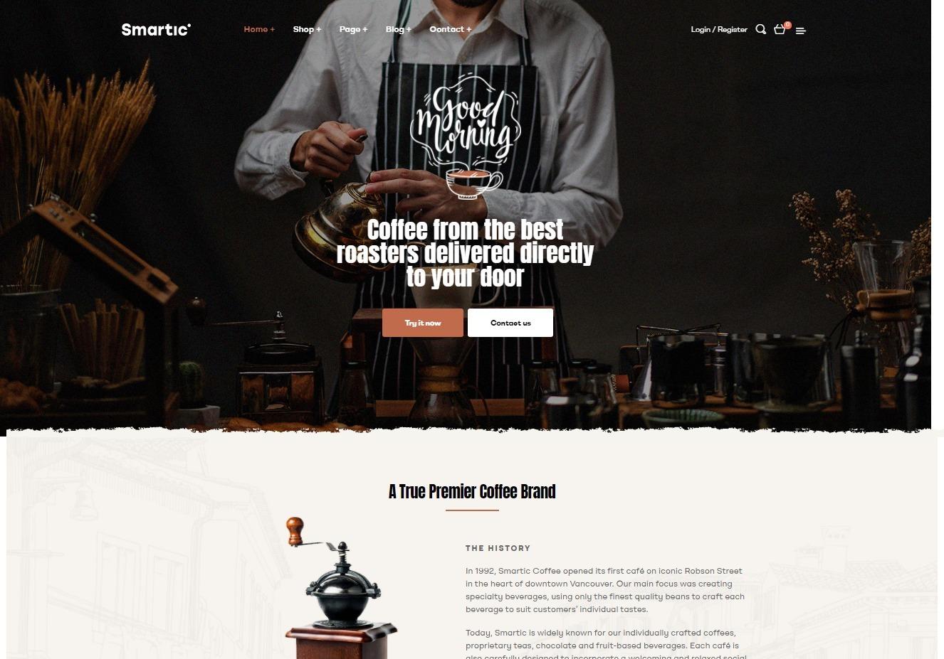 Smartic Coffee Products WordPress Theme