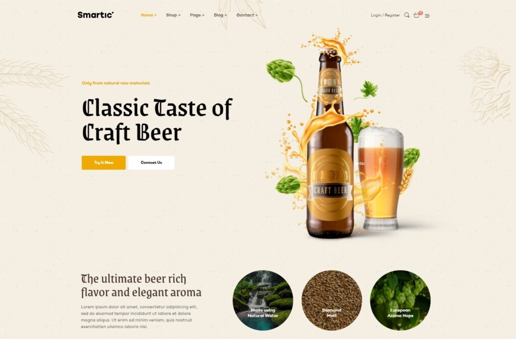 Smartic Craft Beer Home Page WordPress Theme