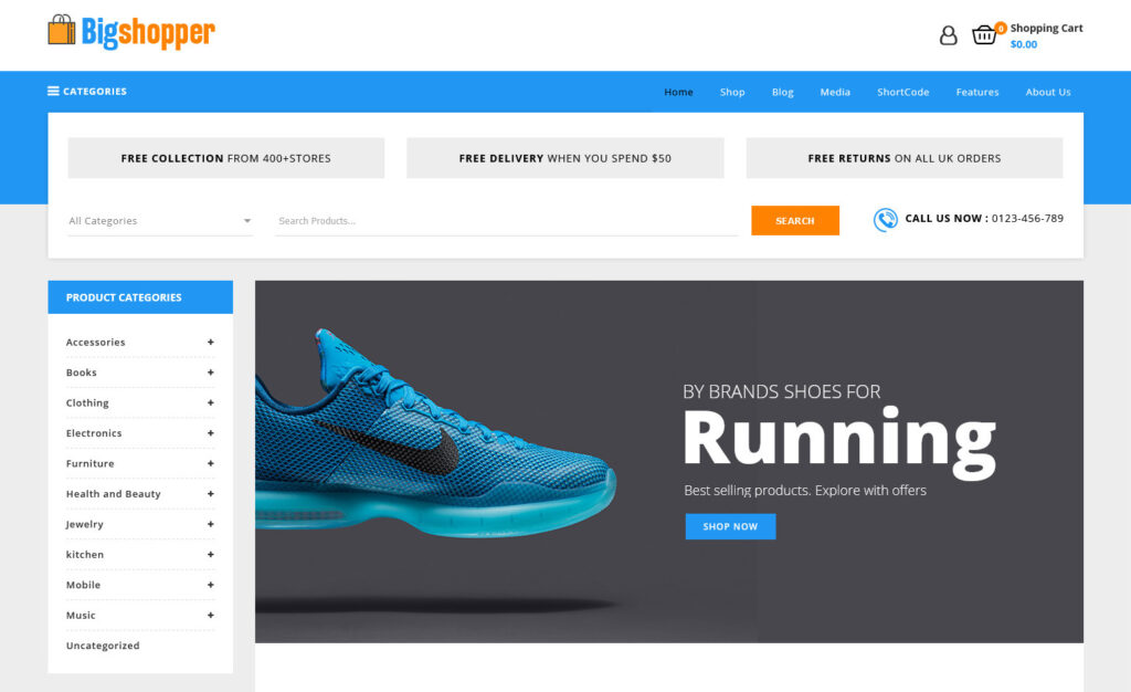Sporting Goods WordPress Theme Big Shopper