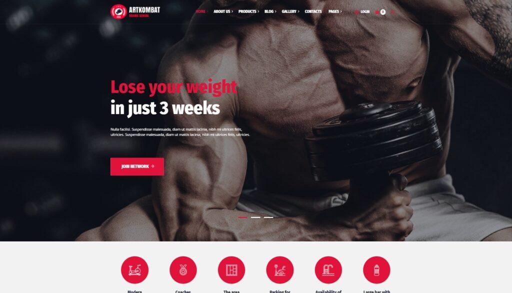 ArtKombat Boxing School and Martial Arts WordPress Theme Preview ThemeForest