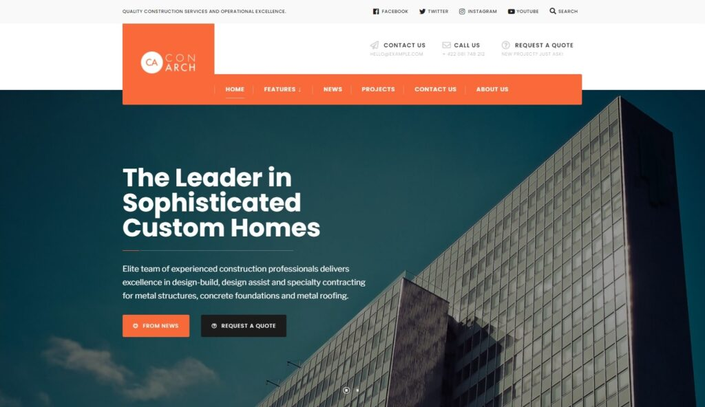 Con Arch Construction Building Business WordPress Theme Preview ThemeForest 1