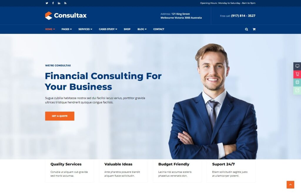 Consultax Financial Consulting WordPress Theme Preview ThemeForest