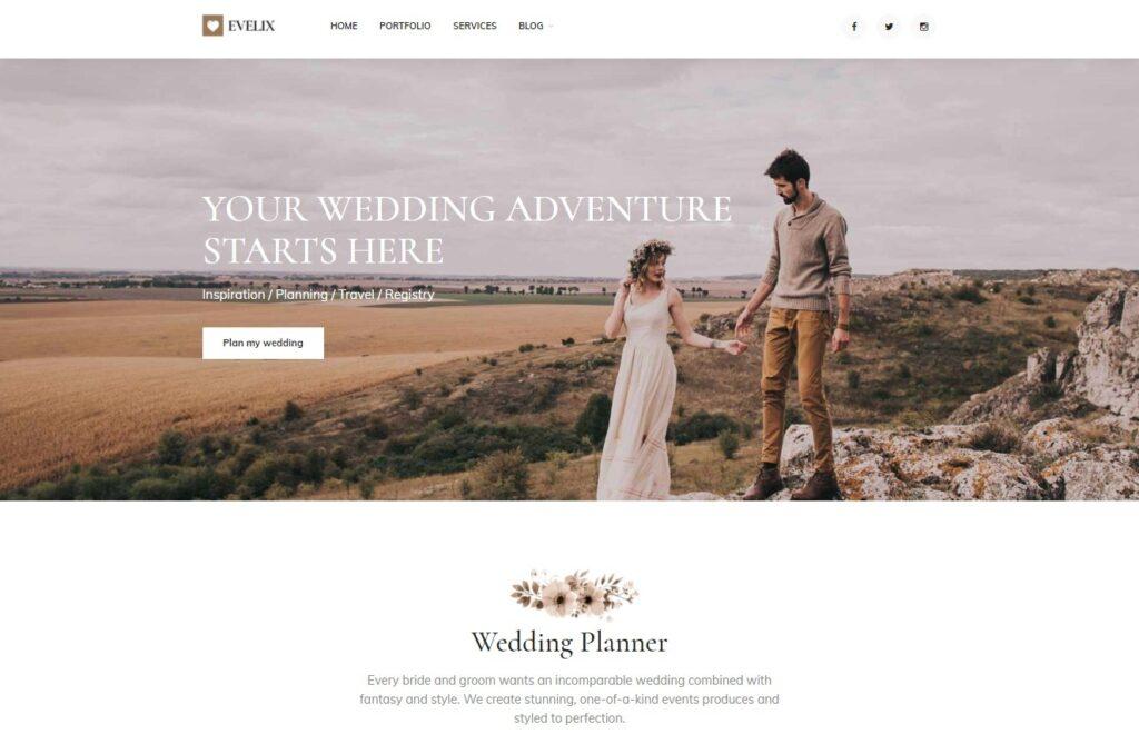 Evelix Wedding Agency WordPress Theme Preview ThemeForest