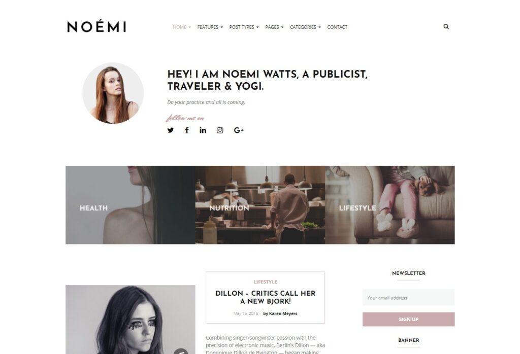 NOEMI WordPress Magazine Theme with Clean Designs